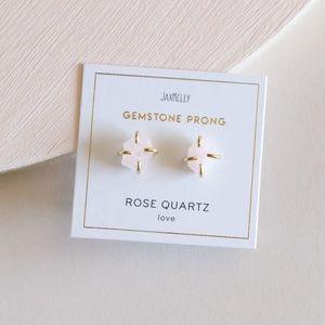 Rose Quartz Gemstone Prong Earrings